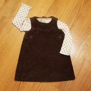 Gap Brown Corduroy Jumper with Polka Dot Shirt